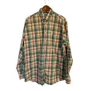 Cinch Oxford Shirt Green Orange Plaid Long Sleeve